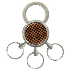 HOUNDSTOOTH2 BLACK MARBLE & RUSTED METAL 3-Ring Key Chains