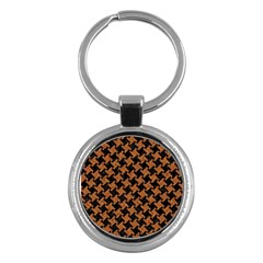HOUNDSTOOTH2 BLACK MARBLE & RUSTED METAL Key Chains (Round)