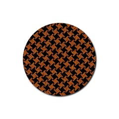 HOUNDSTOOTH2 BLACK MARBLE & RUSTED METAL Rubber Coaster (Round)