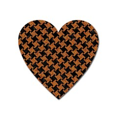 HOUNDSTOOTH2 BLACK MARBLE & RUSTED METAL Heart Magnet