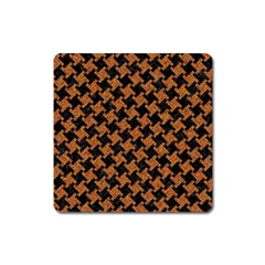HOUNDSTOOTH2 BLACK MARBLE & RUSTED METAL Square Magnet