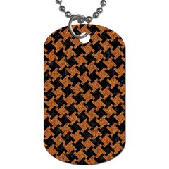 HOUNDSTOOTH2 BLACK MARBLE & RUSTED METAL Dog Tag (Two Sides)