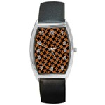 HOUNDSTOOTH2 BLACK MARBLE & RUSTED METAL Barrel Style Metal Watch Front