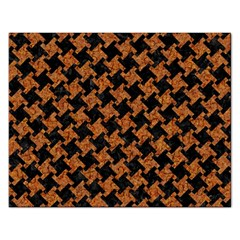 HOUNDSTOOTH2 BLACK MARBLE & RUSTED METAL Rectangular Jigsaw Puzzl