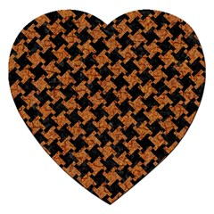 HOUNDSTOOTH2 BLACK MARBLE & RUSTED METAL Jigsaw Puzzle (Heart)