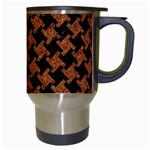 HOUNDSTOOTH2 BLACK MARBLE & RUSTED METAL Travel Mugs (White) Right