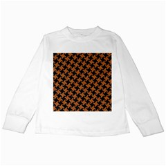 HOUNDSTOOTH2 BLACK MARBLE & RUSTED METAL Kids Long Sleeve T-Shirts