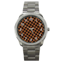 HOUNDSTOOTH2 BLACK MARBLE & RUSTED METAL Sport Metal Watch
