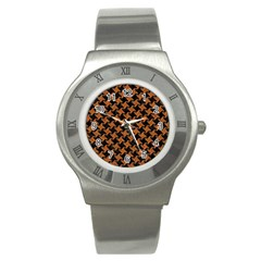 HOUNDSTOOTH2 BLACK MARBLE & RUSTED METAL Stainless Steel Watch