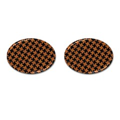 HOUNDSTOOTH2 BLACK MARBLE & RUSTED METAL Cufflinks (Oval)