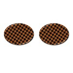 HOUNDSTOOTH2 BLACK MARBLE & RUSTED METAL Cufflinks (Oval) Front