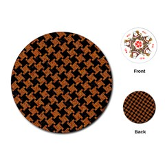 HOUNDSTOOTH2 BLACK MARBLE & RUSTED METAL Playing Cards (Round)