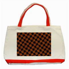 HOUNDSTOOTH2 BLACK MARBLE & RUSTED METAL Classic Tote Bag (Red)