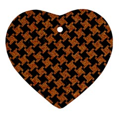 HOUNDSTOOTH2 BLACK MARBLE & RUSTED METAL Heart Ornament (Two Sides)