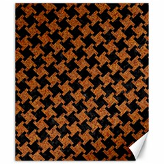 HOUNDSTOOTH2 BLACK MARBLE & RUSTED METAL Canvas 20  x 24