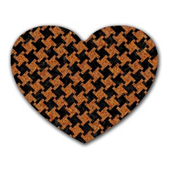 HOUNDSTOOTH2 BLACK MARBLE & RUSTED METAL Heart Mousepads