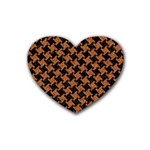 HOUNDSTOOTH2 BLACK MARBLE & RUSTED METAL Rubber Coaster (Heart)  Front