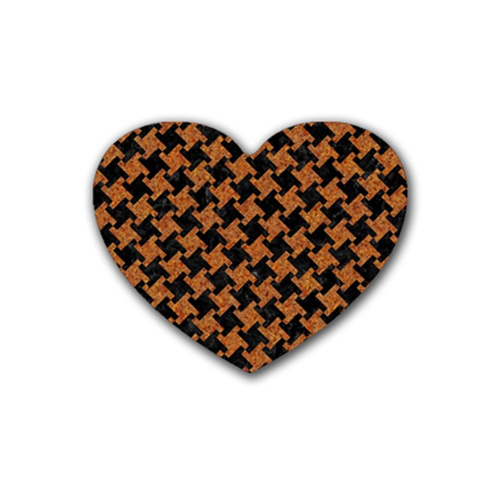 HOUNDSTOOTH2 BLACK MARBLE & RUSTED METAL Rubber Coaster (Heart)