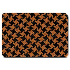 HOUNDSTOOTH2 BLACK MARBLE & RUSTED METAL Large Doormat