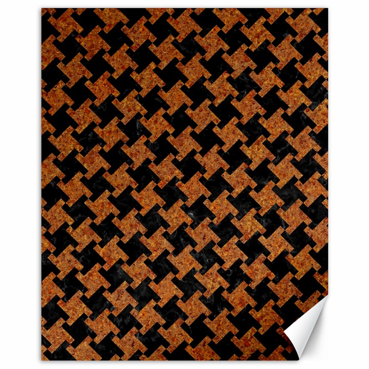 HOUNDSTOOTH2 BLACK MARBLE & RUSTED METAL Canvas 11  x 14