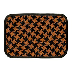 HOUNDSTOOTH2 BLACK MARBLE & RUSTED METAL Netbook Case (Medium)