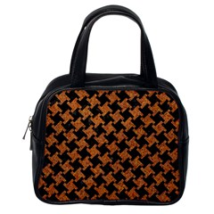 HOUNDSTOOTH2 BLACK MARBLE & RUSTED METAL Classic Handbags (One Side)