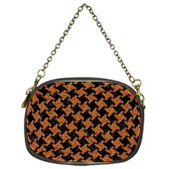 HOUNDSTOOTH2 BLACK MARBLE & RUSTED METAL Chain Purses (One Side)