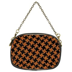 HOUNDSTOOTH2 BLACK MARBLE & RUSTED METAL Chain Purses (Two Sides)