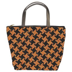 HOUNDSTOOTH2 BLACK MARBLE & RUSTED METAL Bucket Bags
