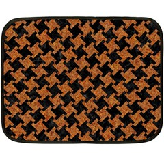 HOUNDSTOOTH2 BLACK MARBLE & RUSTED METAL Fleece Blanket (Mini)