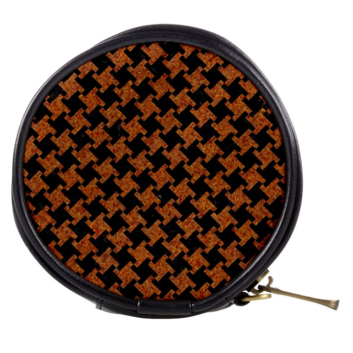HOUNDSTOOTH2 BLACK MARBLE & RUSTED METAL Mini Makeup Bags