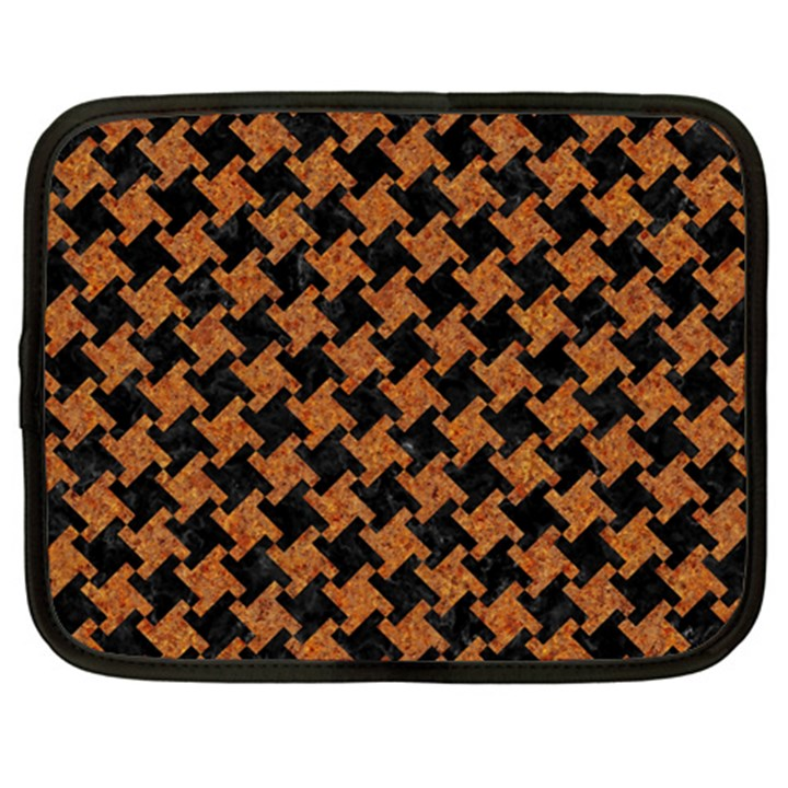 HOUNDSTOOTH2 BLACK MARBLE & RUSTED METAL Netbook Case (XL)