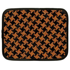 HOUNDSTOOTH2 BLACK MARBLE & RUSTED METAL Netbook Case (XXL)