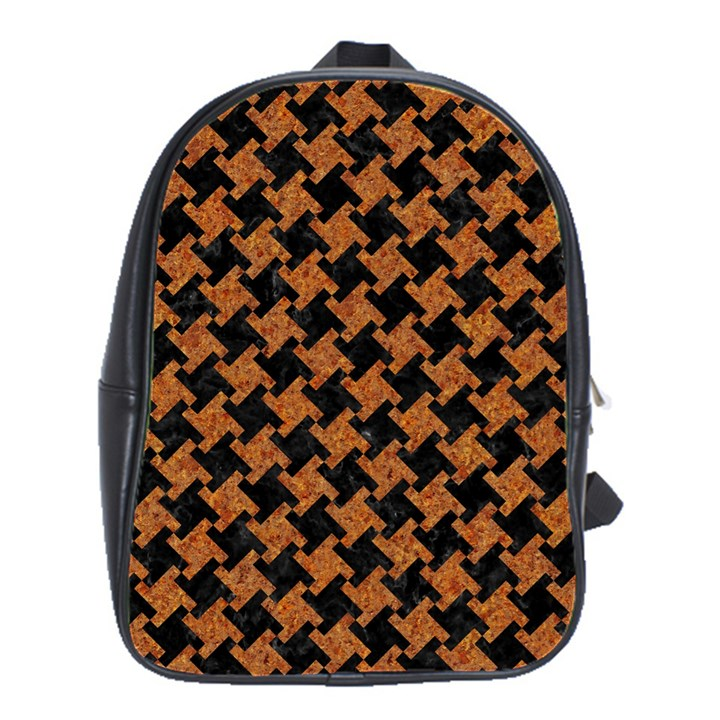 HOUNDSTOOTH2 BLACK MARBLE & RUSTED METAL School Bag (Large)