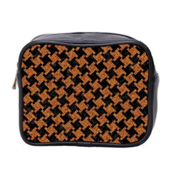 HOUNDSTOOTH2 BLACK MARBLE & RUSTED METAL Mini Toiletries Bag 2-Side
