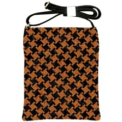 HOUNDSTOOTH2 BLACK MARBLE & RUSTED METAL Shoulder Sling Bags