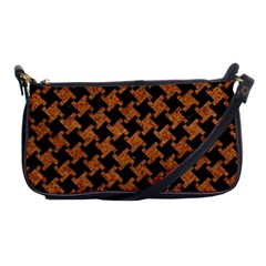 HOUNDSTOOTH2 BLACK MARBLE & RUSTED METAL Shoulder Clutch Bags