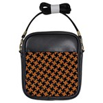 HOUNDSTOOTH2 BLACK MARBLE & RUSTED METAL Girls Sling Bags Front