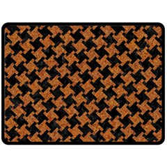 HOUNDSTOOTH2 BLACK MARBLE & RUSTED METAL Fleece Blanket (Large)