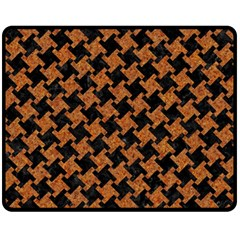 HOUNDSTOOTH2 BLACK MARBLE & RUSTED METAL Fleece Blanket (Medium)