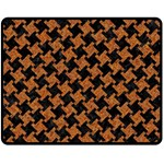 HOUNDSTOOTH2 BLACK MARBLE & RUSTED METAL Fleece Blanket (Medium)  60 x50 Blanket Front