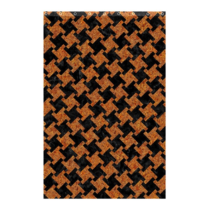 HOUNDSTOOTH2 BLACK MARBLE & RUSTED METAL Shower Curtain 48  x 72  (Small)