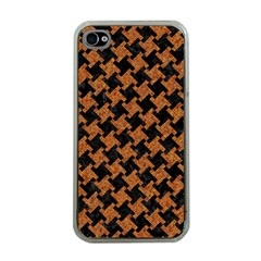 HOUNDSTOOTH2 BLACK MARBLE & RUSTED METAL Apple iPhone 4 Case (Clear)