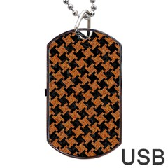 HOUNDSTOOTH2 BLACK MARBLE & RUSTED METAL Dog Tag USB Flash (One Side)