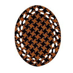 HOUNDSTOOTH2 BLACK MARBLE & RUSTED METAL Ornament (Oval Filigree)