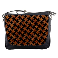 HOUNDSTOOTH2 BLACK MARBLE & RUSTED METAL Messenger Bags