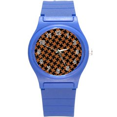 Houndstooth2 Black Marble & Rusted Metal Round Plastic Sport Watch (s)