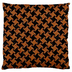 HOUNDSTOOTH2 BLACK MARBLE & RUSTED METAL Large Cushion Case (One Side)
