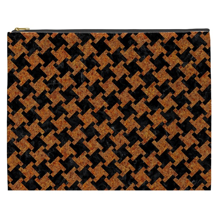 HOUNDSTOOTH2 BLACK MARBLE & RUSTED METAL Cosmetic Bag (XXXL)