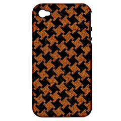 HOUNDSTOOTH2 BLACK MARBLE & RUSTED METAL Apple iPhone 4/4S Hardshell Case (PC+Silicone)